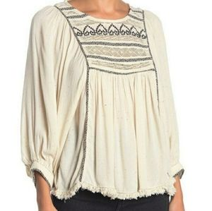 Free People Cyprus Avenue Embrodery top blouse  L